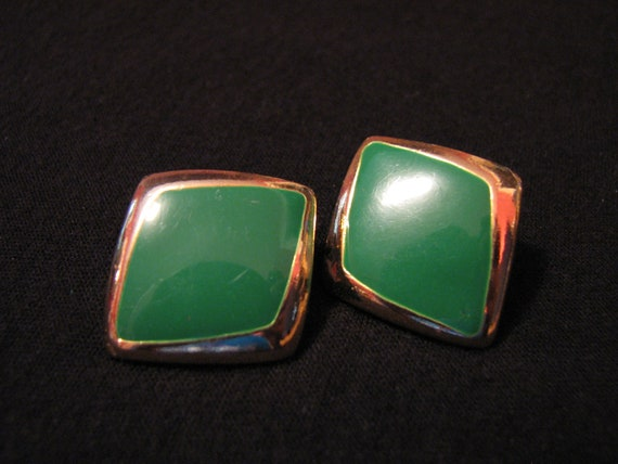 Vintage Gold Tone and Forest Green Enameled Diamond Pierced Earrings