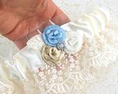 Wedding Garter, Ivory, Cream, Powder Blue, Champagne, Bridal, Toss, Garter Belt, Lace, Crystals, Pearls, Elegant Wedding, Vintage Wedding