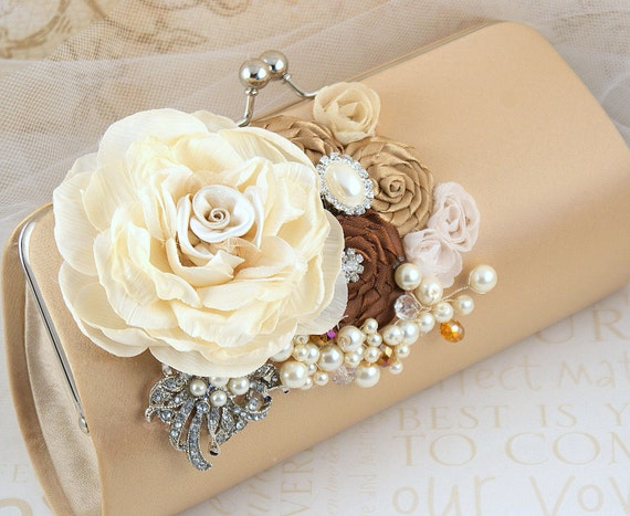 Clutch, Beige, Tan, Champagne, Chocolate, Brown, Ivory, Cocoa, Handbag, Purse, Brooch, Crystals, Pearls, Elegant Wedding, Vintage Style