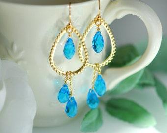 Swiss blue earrings, Swiss blue topaz crystal earrings, Blue and gold jewelry, Bridesmaids earrings , Long Chandelier earrinngs