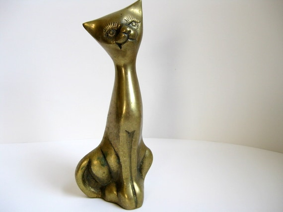 Vintage brass cat figurine