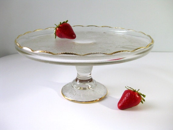 Vintage cake stand Jeanette Glass Harp