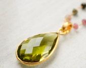 Green Peridot Quartz Necklace - Tourmaline, Ruby Quartz, Layering Necklace - Colourful