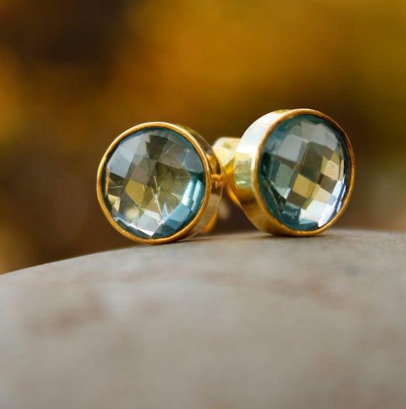 Gold Teal Quartz Stud Earrings - Round Post Earrings - Teal Green