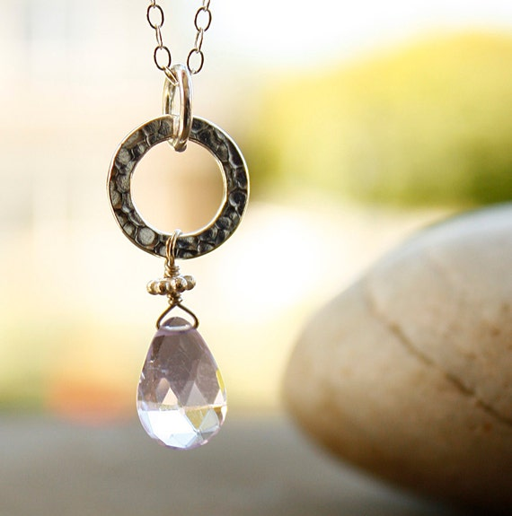 SALE - Pink Amethyst Necklace - Sterling Silver - MARKED DOWN, Gifts Under 30