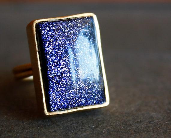 Midnight Sunstone Ring - Blue Sunstone, Midnight Magic - Shimmer, Rectangular Cut
