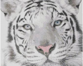 White Tiger Cross Stitch Printed Pattern