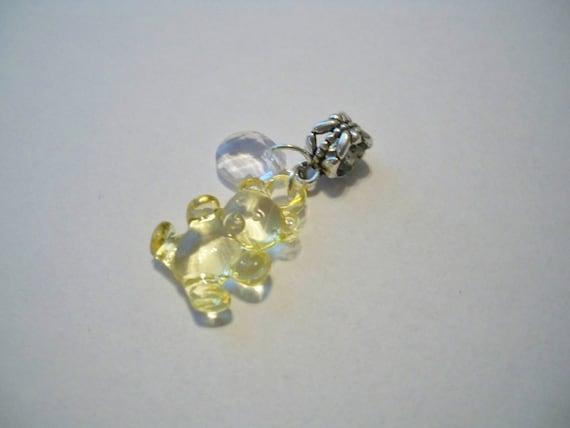 Cute Teddy Gummy Bear Fits Pandora Bracelet European Yellow Bead Dangle KAWAII KITSCH