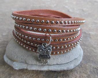 Sale Owl Studded  Natural Leather Wrap Bracelet