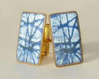 Vintage 50s Cufflinks Modernist Enamel Abstract Blue & White Mid-Century Cuff Links
