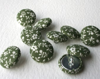 Handmade Vintage Fabric Set of 10 Fabric Covered Buttons