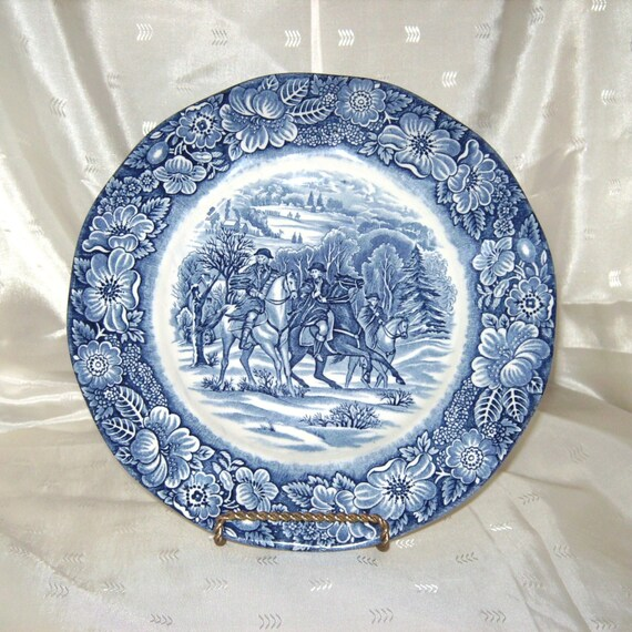 Staffordshire Liberty Blue Washington at Valley Forge Luncheon Decorator Plate