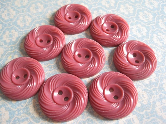 8 Vintage Salmon Colored Plastic Buttons