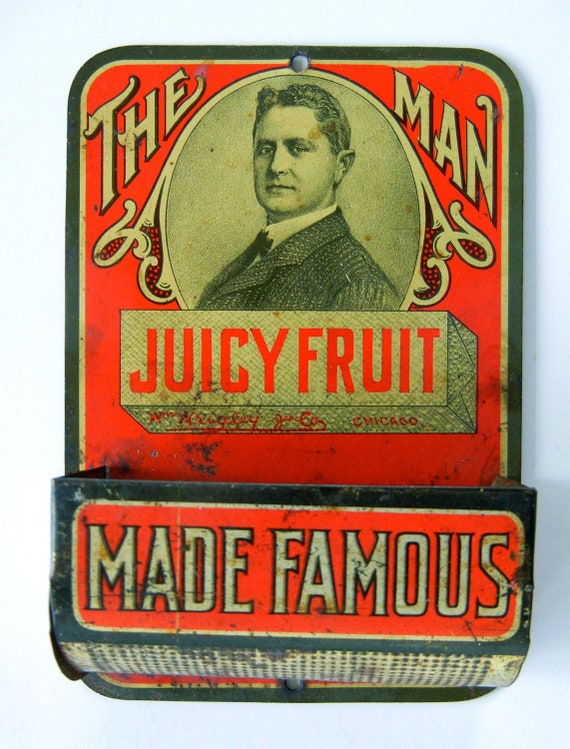 Unique Antique 1900's Advertising Match Holder Wm Wrigley Juicy Fruit Gum Tin Lithograph