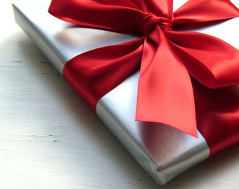 Silver Wrapping Paper with a Red Satin Ribbon - Gift Wrap My Stationery Order
