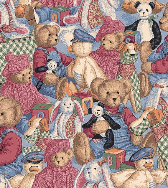 Blue jean teddy bear fabric buy it by the yard by younghopper for Purchase fabric by the yard