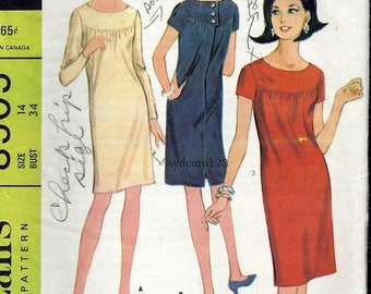 Vintage 1966 Scoop Neck Sheath Front and Back Yoke Back Buttons...McCalls 8505 Bust 34