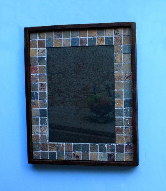Slate Framed Mirror, Tumbled Copper Rust Slate, Dark Brown Finish, 26 x 32 - Handmade