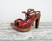 1970s platforms / 70s wood platforms / Bare Traps Cut Out Open Toe Heels