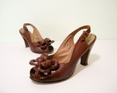 1940s Shoes / 40s Platforms / Toffee Reptilian Leather Peep toe Platforms Heels