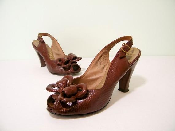 1940s Shoes / 40s Platforms / Toffee Reptilian Leather Peep toe Platforms Heels