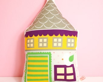 decorative house pillow for nursery room or kids room - yellow, gray and violet with little bird