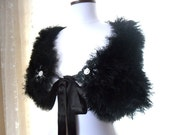 Black Evening Wrap - Vintage Style with Black Beaded Buttons and Satin Ribbon
