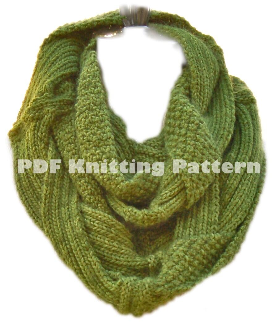 Beginner Knitting Pattern Infinity Scarf : Challah Infinity Scarf PDF Knitting Pattern Instant Download