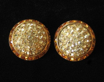 Huge Rhinestone Studded Button Earrings, Yellow and Topaz