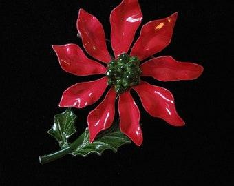 Enamel Poinsettia Brooch, Vintage Christmas