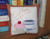 Cupcake with Coffee Bookshelf Desk Sofa Office Pillow OOAK