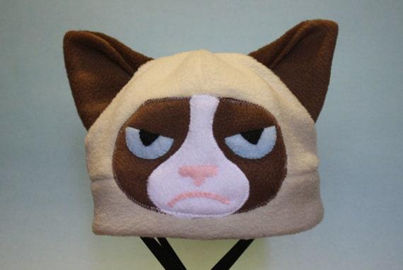 grumpy cat fleece hat. Black Bedroom Furniture Sets. Home Design Ideas