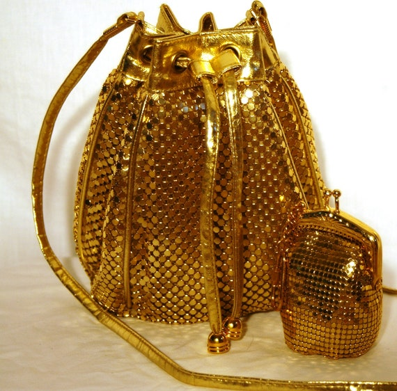 Vintage 1980s Retro Whiting and Davis Gold Mesh Drawstring Bucket Purse