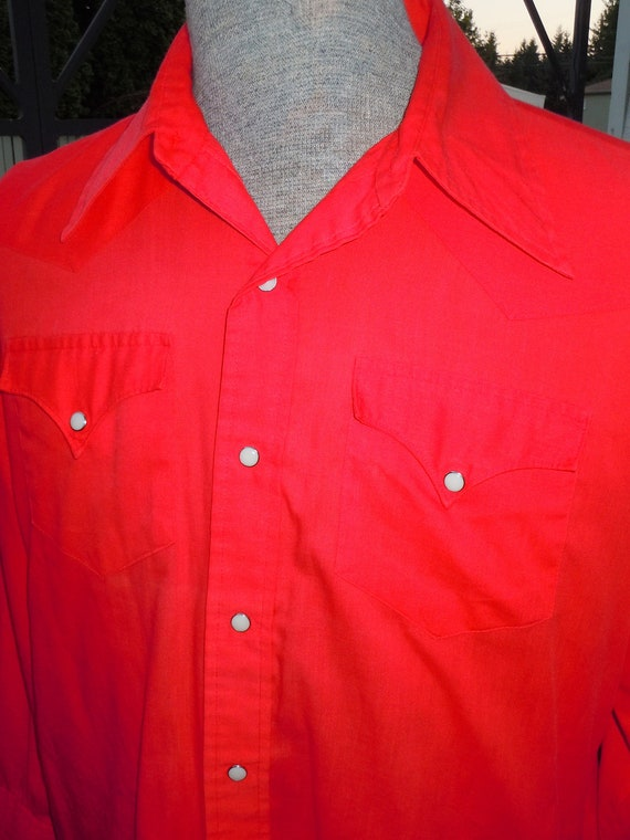 True VINTAGE Mens H Bar C Red Western Shirt with Pearl Snaps - Size L