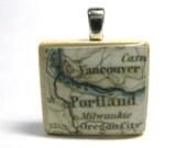Portland, Oregon - 1875 vintage Scrabble tile map pendant