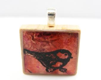 Red bird - Glowing metallic Scrabble tile pendant