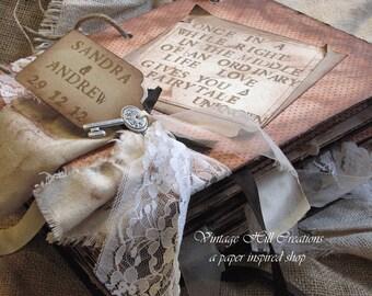 Wedding Guest Book-  Romantique Custom - Vintage Shabby Romantic - 8.5 X 11