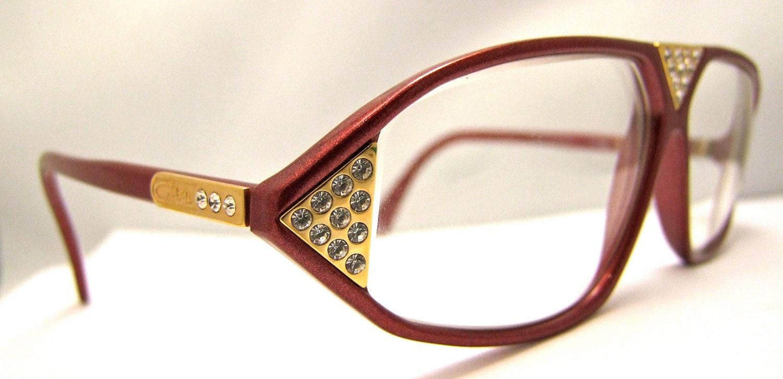 Designer Eyeglass Frames With Rhinestones : Cazal Rhinestone Designer Eyeglasses // Vintage by ...