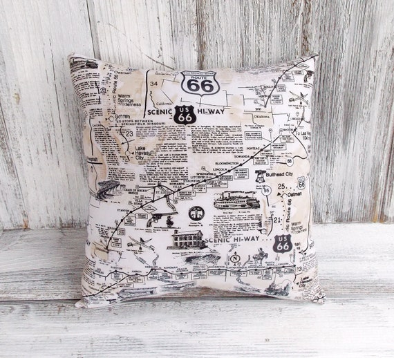 Route 66 Map Pillow Cushion For Home Decor Scenic By