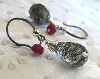 Gray Earrings, Black Gray Earrings, Sterling Silver Earrings, Red Ruby Earrings, Tourmalated Quartz, Gemstone Earrings  - Tweed