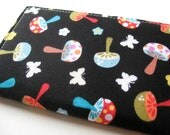 Credit Card Case, Business Card Cover - Mini Mushrooms in Black - READY TO SHIP