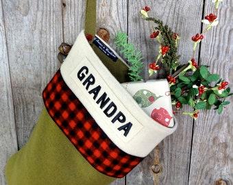 Buffalo Plaid Christmas Stocking Personalized - Loden
