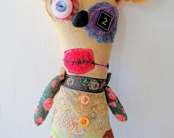 Handmade Monster Plush - Mitzy- Grungy- Art Doll - Halloween- Christmas-Creepy Cute- Doll- Softie