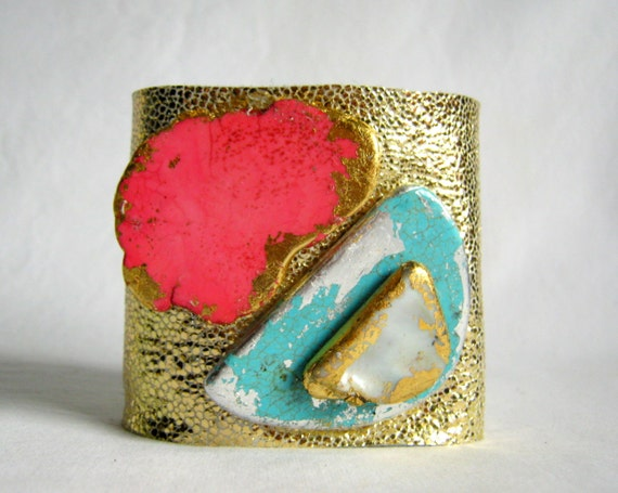 SALE -- reserved for simone until midnight 11-25-12 metallic gold leather cuff bracelet with gilded stones - size 1