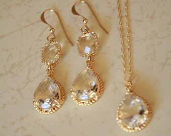 Gorgeous Clear Crystal Bridal Set.  Earrings and Necklace on gold. Bride, Bridesmaids, Wedding