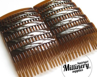 "12 Tortoise Brown Plastic Hair Combs for Fascinators and Millinery (2 3/4"" Wide)"