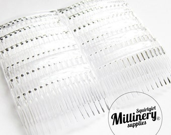 "12 Clear Plastic Hair Combs for Fascinators and Millinery (2 3/4"" Wide)"