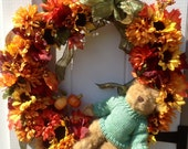 Reserved for Kathleenboka Halloweenie bear wreath