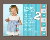 Girl Toddler 2nd Birthday - Photo Invitations