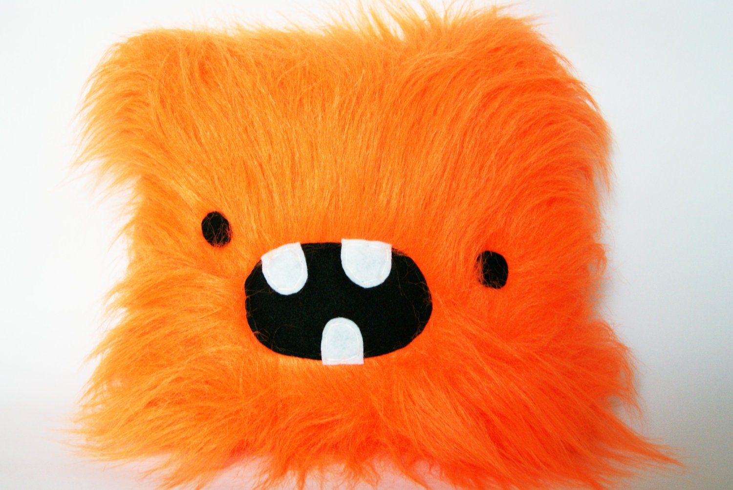 Bright Orange Monster Plush Soft Toy Cushion Cool Long Faux